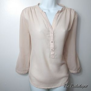 AMISU Tan Sheer V-neck Button 3/4 sleeve Blouse